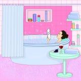 Dziewczyna bierze skąpanie relaks Obraz Stock