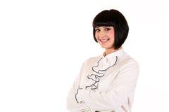 Dziewczyna biurowy personel odizolowywający na białym tle, bardzo czysty wizerunek z kopii przestrzenią Obraz Stock
