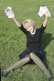 dziewczyna blond pieniądze fotografia stock
