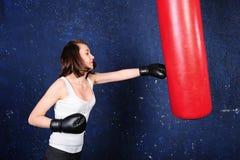 dziewczyna bokserski portret Fotografia Royalty Free