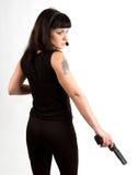 dziewczyna broń słuchawki Zdjęcia Royalty Free