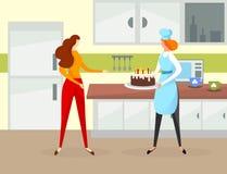 Dziewczyna charakter Trzyma Urodzinowego tort z świeczkami ilustracji