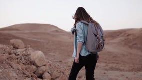 Dziewczyna chodzi blisko góry kropli swobodny ruch Młody żeński turysta na pustynnej jar krawędzi duzi kamienie i skały Izrael zdjęcie wideo