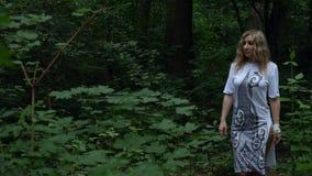 Dziewczyna chodzi przez lasu zbiory