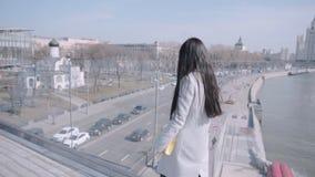 Dziewczyna chodzi wzdłuż zwyczajnego mosta zbiory