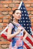 dziewczyna chorągwiany młot usa Obraz Stock