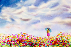 Dziewczyna chwyta misiów stojak patrzeje stokrotki kwitnie ilustracja wektor