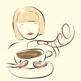 Dziewczyna cieszy się odór kawa Ilustracji