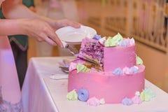 Dziewczyna ciie daleko kawałek tort, urodzinowy tort zakrywający z menchiami g Obrazy Stock