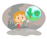 Dziewczyna ciosu bąbel w zanieczyszczenia mieście Zdjęcie Royalty Free