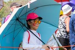 Dziewczyna czekać na dopasowanie w Honda LPGA Tajlandia Zdjęcie Royalty Free