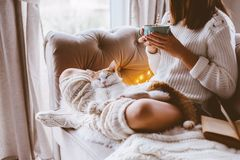 Dziewczyna czyta książkę i pije ciepłego kakao na kanapie fotografia royalty free