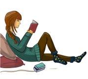 Dziewczyna czyta książkową WEKTOROWĄ ilustrację Obraz Stock