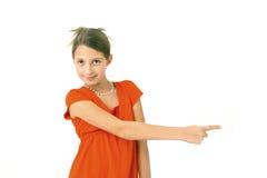 dziewczyna daje znakowi Zdjęcia Stock