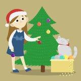 Dziewczyna dekoruje Chistmas drzewa ilustracja wektor