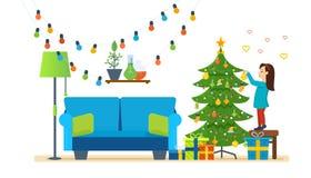 Dziewczyna dekoruje xmas drzewa, świątecznych zabawek i girland, ilustracji