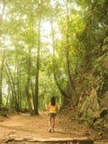 Dziewczyna dzieciaka odzieży żółte koszula chodzą w lesie na szmince ziemia Obrazy Stock