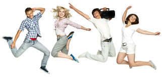 dziewczyna faceci skaczą Obraz Royalty Free