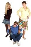 dziewczyna facet czworonożne s dwa młode Zdjęcie Stock