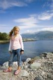 dziewczyna fiordu Fotografia Royalty Free