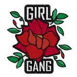 Dziewczyna gang - mody łata lub odznaka Broderia Wzrastał z liśćmi royalty ilustracja