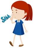 Dziewczyna gestykuluje zatrzymywać używać hałas royalty ilustracja