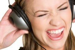 dziewczyna hełmofonów śpiewać Zdjęcie Stock