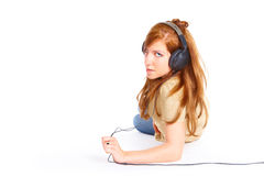 dziewczyna hełmofony obrazy royalty free
