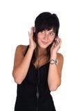 dziewczyna hełmofony Fotografia Royalty Free