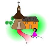 Dziewczyna iść kościół Obrazy Royalty Free