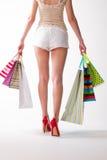 Dziewczyna iść z torba na zakupy obraz royalty free