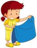 Dziewczyna i błękitna koc ilustracji