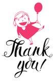 Dziewczyna i balon Dziękujemy was karcianych ilustracja wektor
