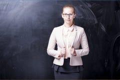 Dziewczyna i blackboard Obrazy Royalty Free