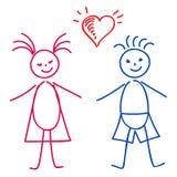 Dziewczyna i chłopiec, nakreślenie Zdjęcia Royalty Free