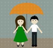 Dziewczyna i chłopiec z parasolem w dolewaniu padamy również zwrócić corel ilustracji wektora Fotografia Stock