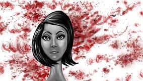 Dziewczyna i czerwieni rozproszone formy Obraz Royalty Free