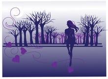 Dziewczyna i drzewo Obrazy Stock