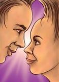 Dziewczyna i facet w blasku księżyca Obrazy Royalty Free