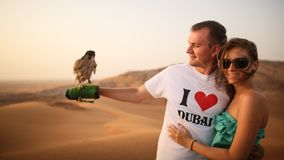 Dziewczyna i faceta utrzymanie na ręka orle Pustynia w Abu Dhabi, Zjednoczone Emiraty Arabskie Zdjęcie Royalty Free
