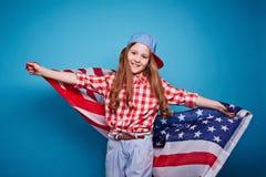 Dziewczyna i flaga Zdjęcia Stock