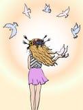 Dziewczyna i gołębie Obraz Stock