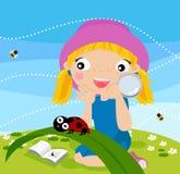 Dziewczyna i insekt ilustracja wektor