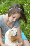 Dziewczyna i jej pies Obrazy Stock