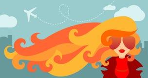 Dziewczyna i jesień wiatr ilustracja wektor