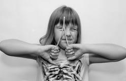 Dziewczyna i kije Obraz Stock