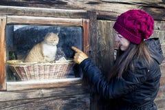 Dziewczyna i kot Zdjęcie Stock