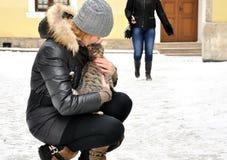 Dziewczyna i kot Obraz Royalty Free