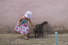 Dziewczyna i kot Obrazy Royalty Free