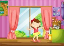 Dziewczyna i kot wśrodku domu ilustracja wektor